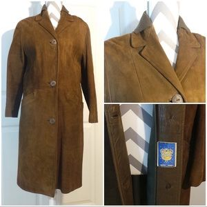Vintage brown suede leather coat PERFECT!
